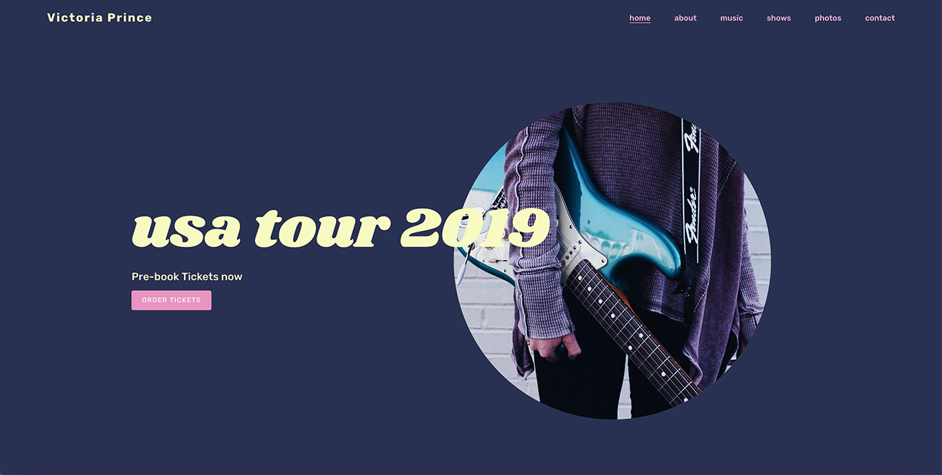 Music website template images