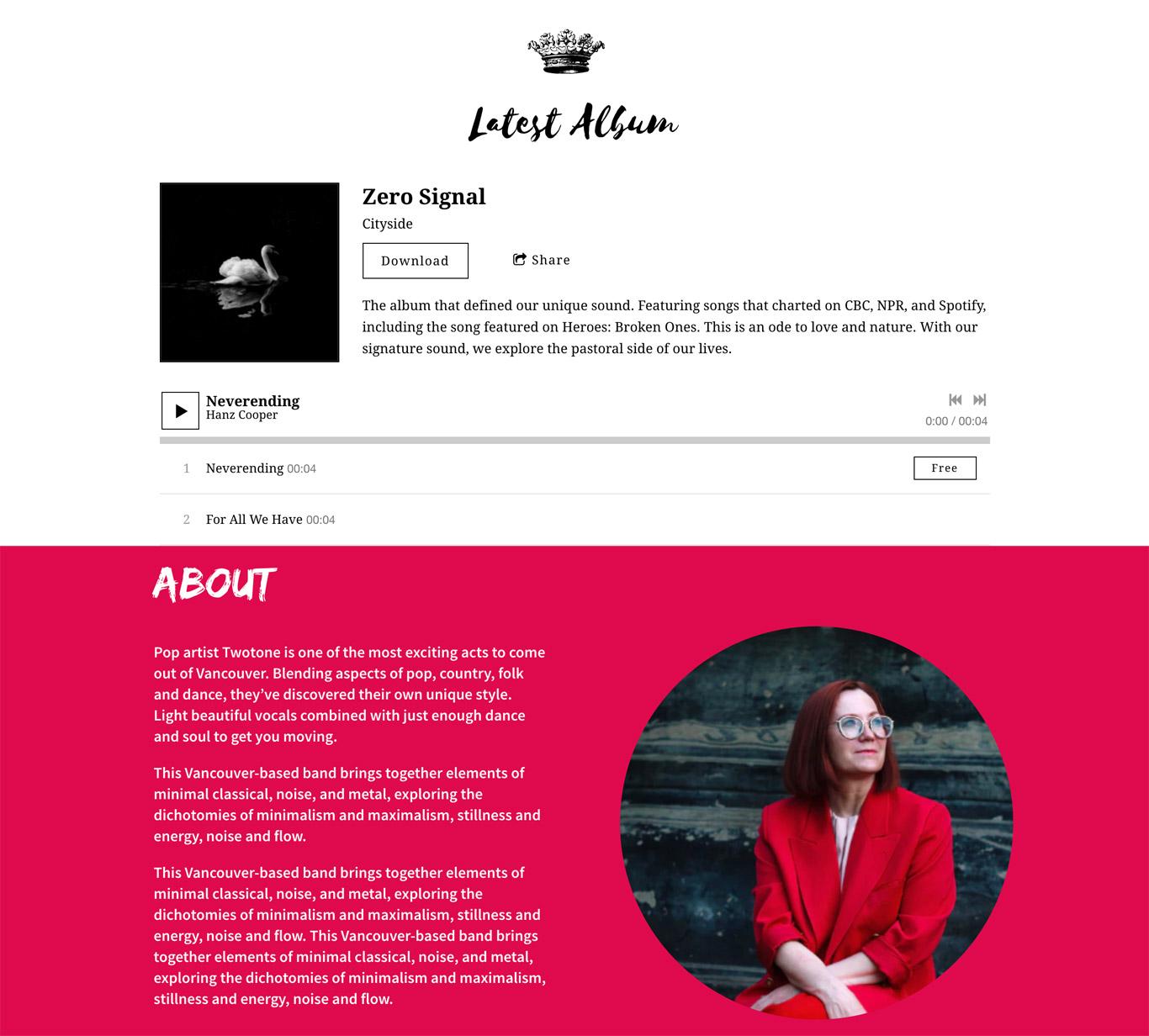 Music website template fonts