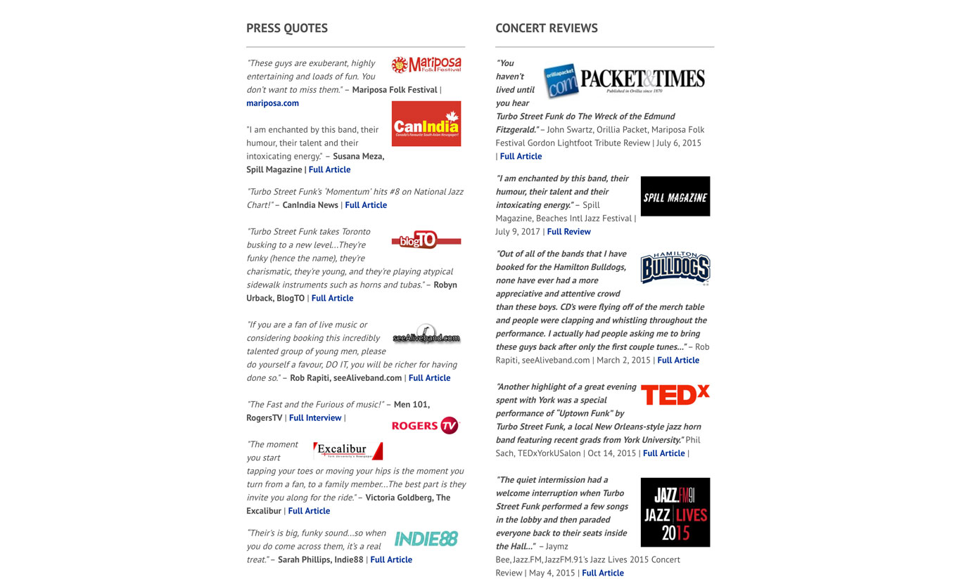 EPK Example: Turbocharged Street Funk Press Quotes