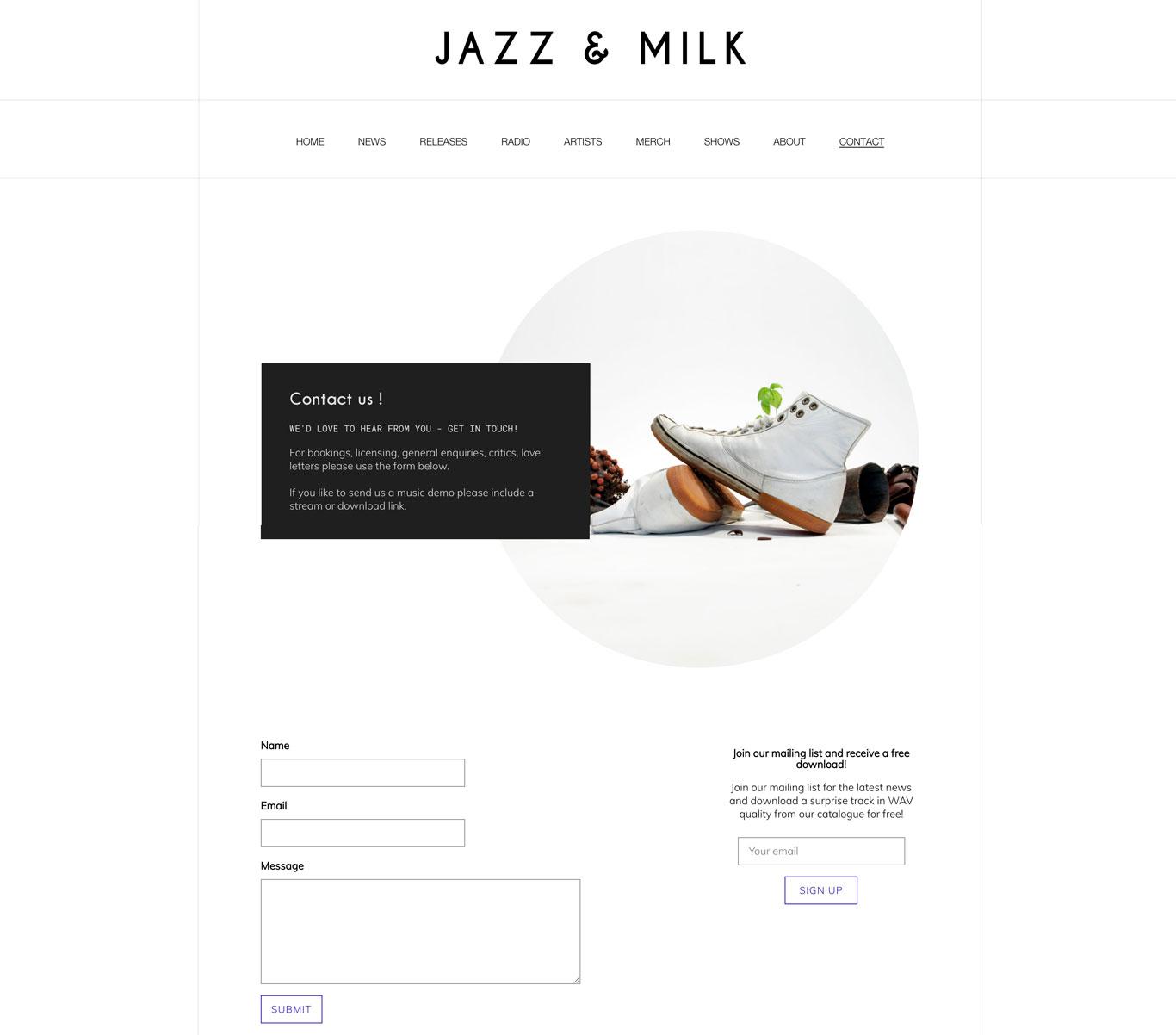 Jazz and Milk Report label website