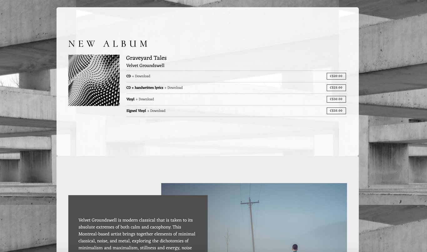 Music website template content